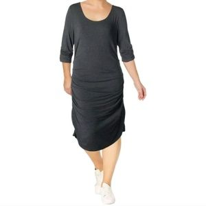 LYSSE ATHLEISURE Modal stretch rouched midi dress